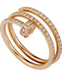 Cartier | Red Juste Un Clou 18ct Pink-gold And Diamond Double Ring | Lyst