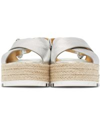 Marc Jacobs - Metallic Silver Leather Beverley Sandals - Lyst