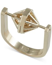 French Connection | Metallic Gold-tone Spinning Geometric Ring | Lyst