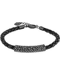 Swarovski | Black Stone Crystal & Leather Braided Bracelet | Lyst