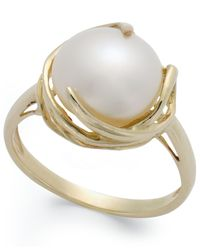 Macy's | Metallic Cultured Freshwater Pearl Button Ring In 14k Gold (10mm) | Lyst