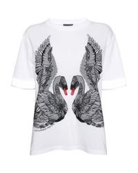 Alexander McQueen | White Embroidered Swan T-shirt | Lyst