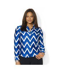 Lauren by Ralph Lauren | Multicolor Plus Size Chevronprint Shirt | Lyst