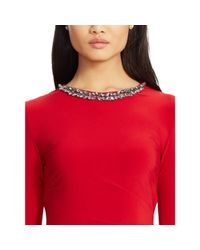 Ralph Lauren | Red Jeweled-neckline Jersey Dress | Lyst