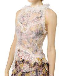 Nina Ricci - Multicolor Frilled Silk Chiffon Floral Lace Dress - Lyst