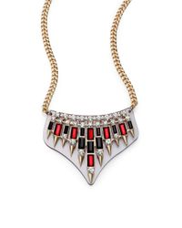 ABS By Allen Schwartz | Metallic Box Of Jewels Spiked Plate Bib Necklace | Lyst