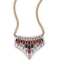 ABS By Allen Schwartz - Metallic Box Of Jewels Spiked Plate Bib Necklace - Lyst