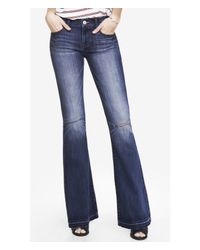 Express - Blue Mid Rise Bell Flare Jean - Lyst