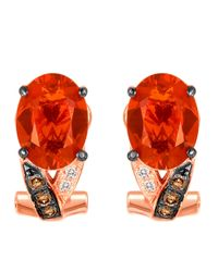 Le Vian | Red 14kt. Rose Gold Opal And Diamond Earrings | Lyst