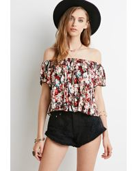 Forever 21 - Brown Floral Tie-dye Off-the-shoulder Top - Lyst