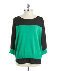 Calvin Klein - Green Mixed Media Dolman Top - Lyst