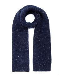 Oliver Spencer - Blue Navy Textured Dongle Wool Scarf for Men - Lyst