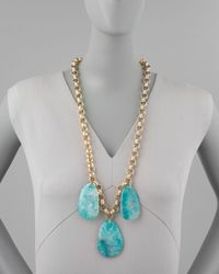 Devon Leigh | Blue Aqua Agate Station Necklace | Lyst