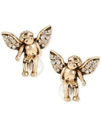 Betsey Johnson - Metallic Gold-tone Crystal Angel Imitation Pearl Stud Earrings - Lyst