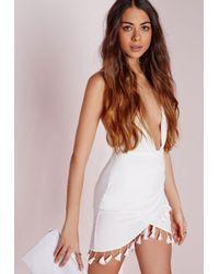 Missguided - Tassel Trim Wrap Mini Skirt White - Lyst