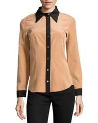 Michael Kors - Natural Colorblock Crepe De Chine Blouse - Lyst