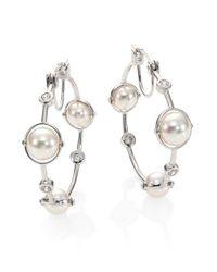 Majorica - Metallic 8mm White Pearl & Sterling Silver Station Hoop Earrings/1.2 - Lyst