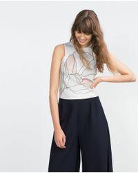 Zara | Natural Printed Top | Lyst