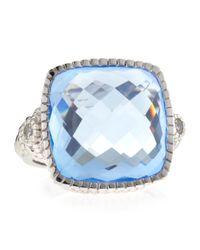 Judith Ripka - Metallic Blue Quartz Cushion-Cut Ring - Lyst