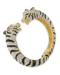 Kenneth Jay Lane - Black And Crystal Tiger Bracelet - Lyst