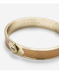 Cole Haan | Metallic Thin Hinged Leather Inlay Bangle | Lyst