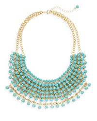 Cara - Blue Beaded Bib Necklace - Lyst