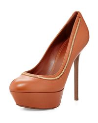 Sergio Rossi - Orange Zip-Trimmed Platform Leather Pumps - Lyst