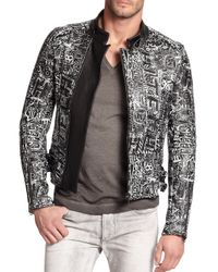 Diesel Black Gold - Black Graffiti Print Cropped Leather Jacket - Lyst