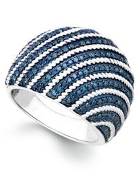 Macy's | Metallic Blue Diamond Dome Ring In Sterling Silver (1/2 Ct. T.w.) | Lyst