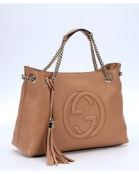 Gucci - Light Pink Leather 'soho' Convertible Top Handle Tote - Lyst