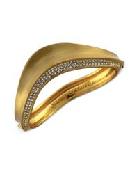 Vince Camuto | Metallic Goldtone Crystal Accent Bangle Bracelet | Lyst