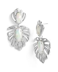 Kendra Scott | Metallic 'Kirby' Drop Earrings - Iridescent White Opaque Glass | Lyst