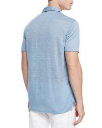 Vince - Blue Linen-knit Polo for Men - Lyst
