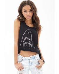 Forever 21 - Black High-low Shark Muscle Tank - Lyst