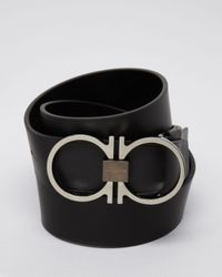 Ferragamo | Black Leather Thin Double Gancini Belt for Men | Lyst