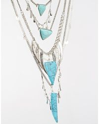 ASOS - Multicolor Bang Bang Multi Row Necklace With Semi Precious Stones - Lyst