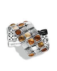 David Yurman - Metallic Chiclet Threerow Bracelet with Citrine Diamonds and Gold - Lyst