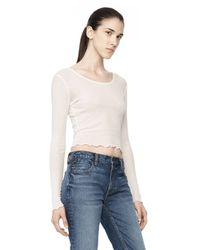 Alexander Wang | White Cropped Long Sleeve Ruffle Tee | Lyst