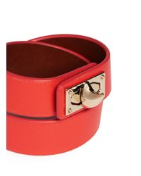 Givenchy - Orange Shark Tooth Double Wrap Leather Bracelet - Lyst