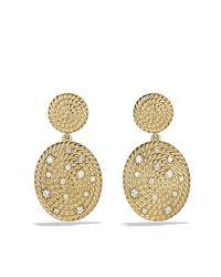 David Yurman - Metallic Cable Coil Double-drop Earrings With Diamonds In Gold - Lyst