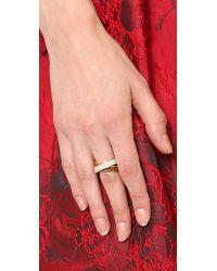 Michael Kors | Metallic Pave Baguette Crossover Ring Goldtopaz | Lyst