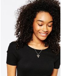 ASOS | Metallic Triple Triangle Geo Necklace | Lyst