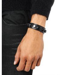 Saint Laurent | Black De Force Leather Cuff for Men | Lyst