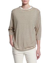Brunello Cucinelli - Natural Striped Wool-cashmere Pullover - Lyst