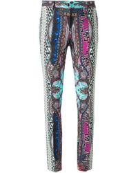 Etro - Blue Ikat Print Slim Fit Trousers - Lyst