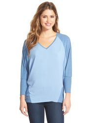 Two By Vince Camuto | Blue 'saturday' V-neck Mixed Media Top | Lyst