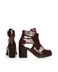 TOPSHOP - Red Aubrey3 Cut Out Boots - Lyst