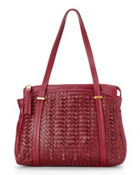 Sondra Roberts - Purple Burgundy Knotted Woven Shopper - Lyst