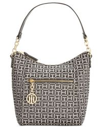 Tommy Hilfiger | Black Sharon Monogram Jacquard Small Hobo | Lyst