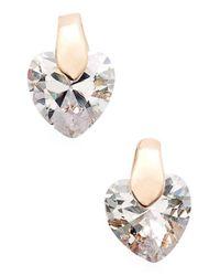 Anne Klein Pink Cubic Zirconia Heart Stud Earrings